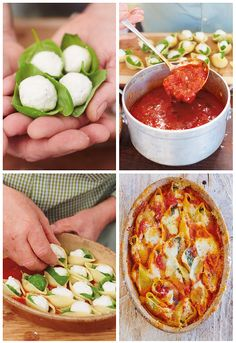 Baked Tomato & Cheese Conchiglioni from Jamie's Food Tube: The Pasta Book. Gennaro Contaldo's incredible recipe for these cheese and tomato-stuffed giant pasta shells is sure to go down a treat with friends and family. Easy and impressive, Italian food doesn't g…
