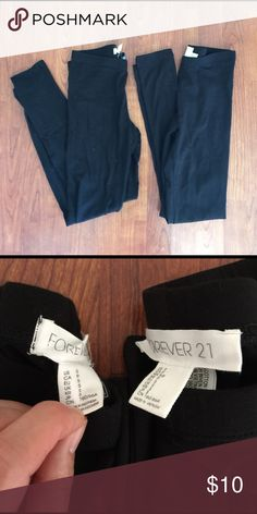 Forever 21 black leggings. Set of 2. Size small Forever 21 black leggings. Size small. Two pairs included both size small. Pair on the left in picture worn once. Pair on the right never worn. Both in excellent condition. Elastic waist band. Forever 21 Pants Leggings