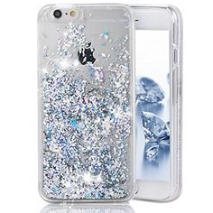 iPhone 7 Plus Case, iPhone 7 Plus Liquid Glitter Case,PHEZEN 3D Creative Design Shiny Quicksand Flowing Bling Glitter Sparkle Heart Clear Hard Case for iPhone 7 Plus - Silver Diamond -- Awesome products selected by Anna Churchill