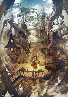 Anime, manga, and video game fan-art artworks from Pixiv (ピクシブ) — a Japanese online community for artists. pixiv - It's fun drawing! Steampunk Kunst, Steampunk City, Steampunk Artwork, Manga Art, Anime Art, Environment Concept Art, Anime Scenery, Fantasy Landscape, Fantasy Artwork