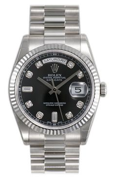 Rolex Day Date Black Diamond Dial 18k White Gold President Bracelet Mens Watch 118239BKDP $27,962