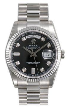 Rolex Day Date Black Diamond Dial 18k White Gold President Bracelet Mens Watch 118239BKDP $27,962