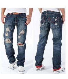 Mens Jeans, Torn Jeans, 100% Cotton, Slim Cut Vintage Style. #picsandpalettes #menjeans #Amazon