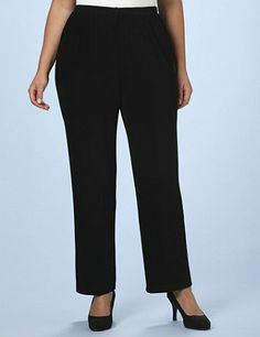 Fall in love with these supple knit, free-and-easy pants that flatter your figure with a casual, yet elegant draping fit. A luxe, ribbed knit lightweight fabric keeps you cool and comfortable for endless year-round wearing options. Wrinkle-resistant so they're an ideal travel companion. Catherines pants are specifically designed with the plus size woman in mind. catherines.com