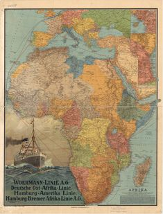 Beautifully colored map of Africa in 1914. Published in Germany by Wagner & Debes shortly before the outbreak of World War I
