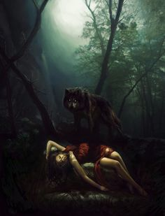 Red riding hood at the mercy of the wolf Red Riding Hood Wolf, Little Red Ridding Hood, Werewolf Art, She Wolf, Wolf Spirit, Big Bad Wolf, Dark Fantasy Art, Fantasy Wolf, Belle Photo