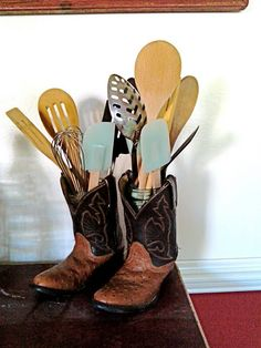 Cowboy Kitchen Boots With Mason Jars Inside To Store Spoons Etc