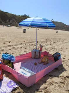 Great beach tip with or without babies! Use a fitted sheet to keep sand out.