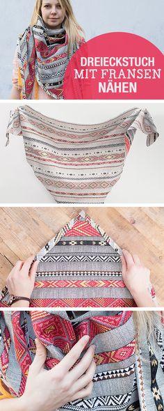 DIY-Nähanleitung: Dreieckstuch mit Fransen nähen, Boho Style / diy sewing tutorial: triangle scarf with tassels via DaWanda.com
