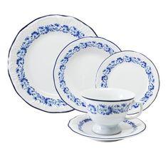 Aparelho De Jantar Solteiro Edite Schmidt Porcelana Branca 5 Peças
