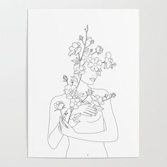 Minimal Line Art Woman with Wild Roses Mini Art Print by Nadja - Without Stand - x Line Art Flowers, Flower Art, Art Pop, Rose Cuttings, Kunst Poster, Rose Art, Custom Posters, Line Drawing, Female Art
