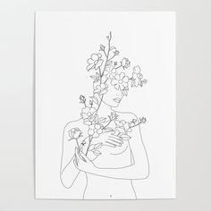 Minimal Line Art Woman with Wild Roses Mini Art Print by Nadja - Without Stand - x Line Art Flowers, Flower Art, Kunst Poster, Rose Art, Art Sketchbook, Aesthetic Art, Line Drawing, Female Art, Art Inspo