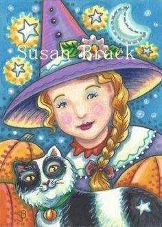 GRETA - Little Greta and her faithful feline.  Susan Brack Original Halloween Witch Illustration Art ACEO EBSQ EHAG