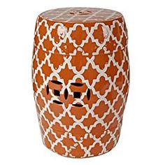 Porcelain Garden Stool White On Orange 13″x18″