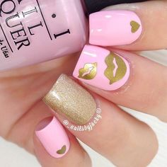 10 Fashion Spring & Valentine Nail Designs – Top New Famous Fashion Manicure Fancy Nails, Pink Nails, Cute Nails, Pretty Nails, Gold Nails, Heart Nail Designs, Valentine's Day Nail Designs, Nails Design, Beautiful Nail Art