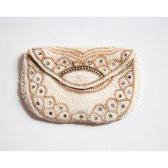 1930s Beaded Pouch/Clutch with Scalloped Details and Rhinestones... ($48) ❤ liked on Polyvore