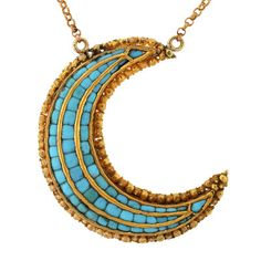 Victorian 18k Gold and Turquoise Crescent Pendant Necklace  c.1880