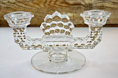 Fostoria American Double Candle Holder by FindsFromYesteryear  $ 15.00