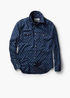 Slim-fit printed chambray shirt | MANGO MAN