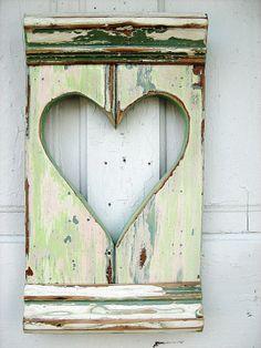 Mint Green Heart Shutter by woodenaht on Etsy, $27.00