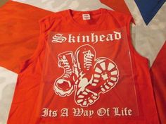 Skinhead Boots . its a Way of Life T SHIRT TANK TOP RED #Unbranded