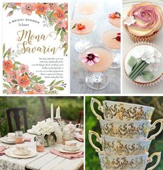 """#Wedding Inspiration featuring Evermine's """"Watercolor Blooms"""" Invitation Collection in coral."""