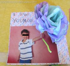 Kids Valentines Craft- tissue paper flower cards