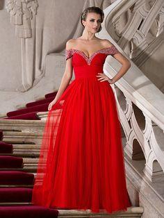 Chiffon Long Dress, A-line Off-the-shoulder Floor-length Evening Dress - USD $ 149.99