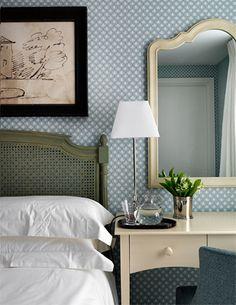 Bedroom 3 Bedroom Inspiration, Interior Design Inspiration, Chelsea Galleries, Dream Bedroom, Master Bedroom, Nina Campbell, Blue Interiors, Pastel Blue, Bedside