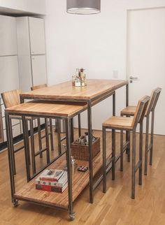 Resultado de imagen para barras de cocina de herreria y madera