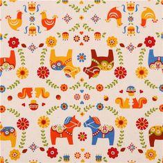 off-white oxford Dala horse fabric Cosmo Japan 2