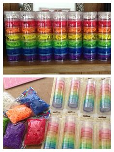 Rainbow Loom party favors - dollar tree travel pill containers. Fill with rubber bands.
