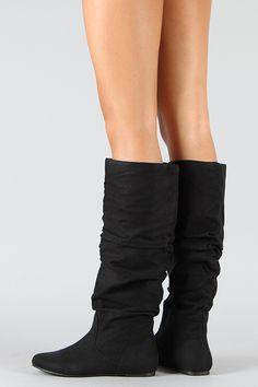 new concept a1e5d 6d155 Soda Zuluu-S Suede Slouchy Knee High Boot Flat Boots, Knee High Boots,