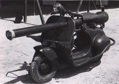 """""""The Vespa 150 TAP is a Vespa scooter modified for use with paratroops. Introduced in 1956 and updated in 1959, it had a U.S.-made light anti-armour cannon. Roughly 800 of these scooters were deployed in the Algerian War.""""  - Wikipedia"""