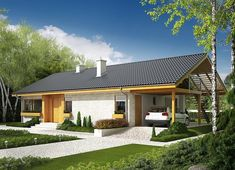 Projekt domu Eryk (z wiatą) 89,19 m² - koszt budowy - EXTRADOM Merlin Home, Simple House Design, House In The Woods, Home Fashion, Exterior Design, Gazebo, Outdoor Structures, Cabin, House Styles