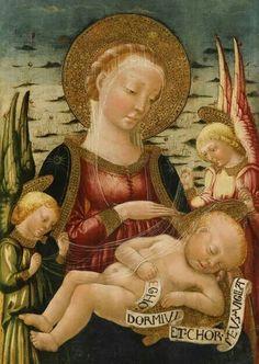 NERI DI BICCI: Madonna col bambino e due angeli