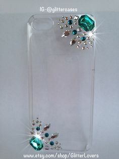 Turquoise crystal iPhone 5 case by GlitterLovers on Etsy, $15.00