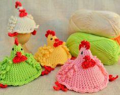 Chicken egg warmers, handmade egg cosy,  crochet Easter decoration, crochet egg covers ,egg cozy chickens, hat chicken
