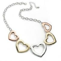 Three coloured gold heart  necklace n30110