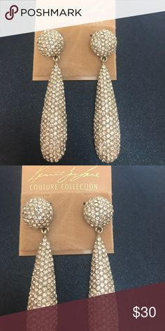 """Kenneth Jay Lane pave drop earrings 2.75"""" pierced pave earrings are made of Austrian crystal. NWT kjl couture collection Kenneth Jay Lane Jewelry Earrings"""