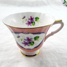 Susie Cooper Orphan Tea Cup, Pink with Violets, Replacement Tea Cup, Teacup ONLY, No Saucer