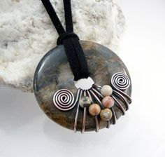 Donut Pendant  Wirewrapped Agate by TouchOfSilver on Etsy, $36.00