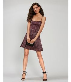 City Vibe Lace-Up-Back Shine Pleated Fit & Flare Dress   Dillard's Fit Flare Dress, Fit And Flare, Homecoming Queen, City Vibe, Casual Dresses, Formal Dresses, Dillards, Night Out, Lace Up