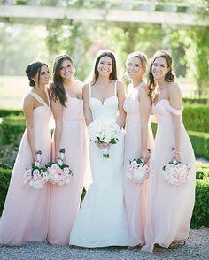 #AmsaleBride Jillian smiles for the camera with her #AmsaleBridesmaids in blush chiffon! | Photo by @JennyMoloney @amsalebridal