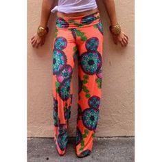 $20.62 Fashionable Elastic Waist Floral Print Loose-Fitting Women's Pants