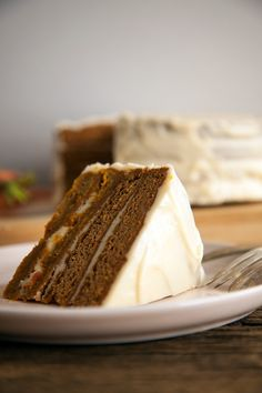 "vegan carrot cake with cream ""cheese"" frosting #vegan"