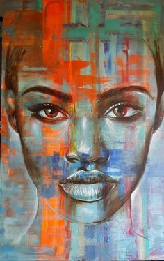 Shop original art created by thousands of emerging artists from around the world. Buy original art worry free with our 7 day money back guarantee. Abstract Faces, Abstract Portrait, Portrait Art, Portraits, Portrait Paintings, Black Art Painting, Diy Painting, Painting Abstract, Acrylic Paintings