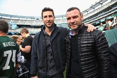Pin for Later: Stars on the Sidelines: Celebrities Who Love Football Liev Schreiber and his brother Pablo checked out the Pittsburgh Steelers game against the New York Jets in November Pablo Schreiber, Liev Schreiber, Hi Brother, Celebrity Siblings, Ray Donovan, Tough Guy, New York Jets, Celebs, Celebrities