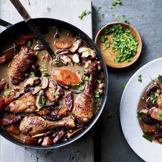 This classic red wine chicken stew from Burgundy is simplified—it's not marinated overnight and there are no pearl onions.
