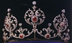 Swedish royal family ruby and diamond tiara given by King Edward VII of Great Britain to his niece Princess Margaret, daughter of Prince Arthur, Duke of Connaught and Strathearn, when she married Prince Gustav Adolf of Sweden, (future King Gustav VI) in 1905
